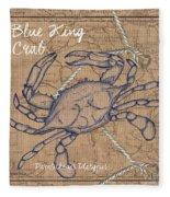 Burlap Blue Crab Fleece Blanket