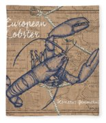 Burlap Lobster Fleece Blanket