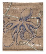 Burlap Octopus Fleece Blanket