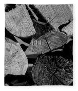 Burned Wood In The Pile Fleece Blanket