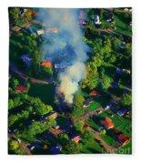 Burnin Down The House Aerial Single Family Home On Fire  Fleece Blanket