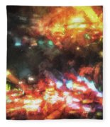 City Of Burning Lights Fleece Blanket