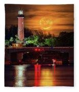 Burning Moon Rising Over Jupiter Lighthouse Fleece Blanket