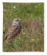 Burrowing Owl And Flowers Fleece Blanket