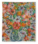 Burst Of Flowers Fleece Blanket