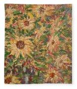 Burst Of Sunflowers. Fleece Blanket