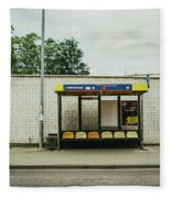 Bus Stop In Poland Fleece Blanket