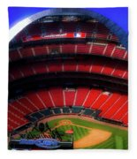 Busch Stadium A Zoomed View From The Arch Merged Image Fleece Blanket