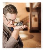 Business Man With Service Bell. Consumer Advice Fleece Blanket