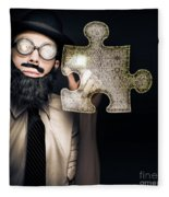 Businessman Puzzle Solving With Digital Solutions Fleece Blanket