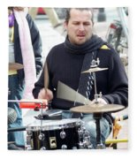 Busking Drummer Fleece Blanket