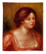 Bust Of A Woman In A Red Blouse Fleece Blanket