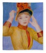 Bust Of A Woman Yellow Dress Fleece Blanket