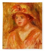 Bust Of A Young Girl In A Straw Hat 1917 Fleece Blanket
