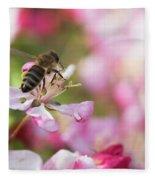 Busy Bee On A Crabapple Tree Fleece Blanket