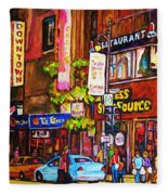 Busy Downtown Street Fleece Blanket