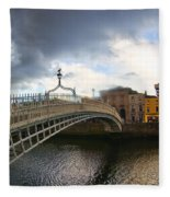 Busy Ha'penny Bridge 4 Fleece Blanket