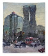 Busy Morning In Downtown Mississauga Fleece Blanket