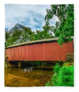 Butchers Mill Covered Bridge Fleece Blanket