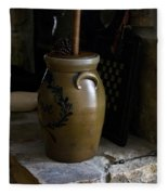 Butter Churn On Hearth Still Life Fleece Blanket