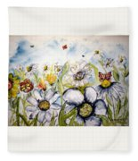 Butterflies And Flowers Fleece Blanket