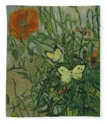 Butterflies And Poppies, 1890.  Fleece Blanket