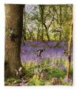 Butterflies In A Bluebell Woodland Fleece Blanket
