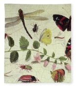 Butterflies, Insects And Flowers Fleece Blanket