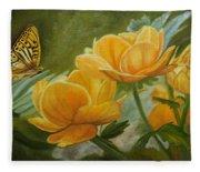Butterfly Among Yellow Flowers Fleece Blanket
