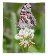Butterfly And Bugs On Clover Fleece Blanket