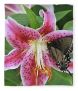 Butterfly And Lilly Fleece Blanket