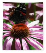 Butterfly And Pink Cone Flower Fleece Blanket
