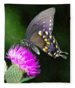 Butterfly And Thistle Fleece Blanket