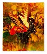 Butterfly Atop Flower Arrangement Fleece Blanket