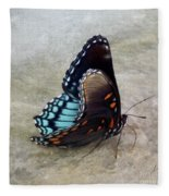 Butterfly Blue On Groovy 2 Fleece Blanket