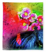 Butterfly Color Explosion Fleece Blanket