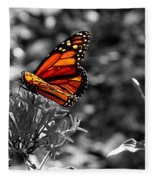 Butterfly Color On Black And White Fleece Blanket