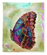 Butterfly In Beige And Teal Fleece Blanket