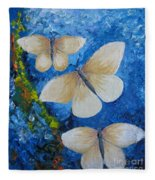 Butterfly In Blue 4 Fleece Blanket