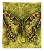 Butterfly In Golds-amber Collection Fleece Blanket