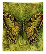 Butterfly In Greens-amber Collection  Fleece Blanket