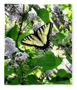 Butterfly In The Lilac No. 1 Fleece Blanket