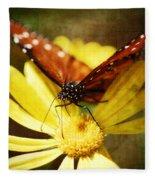 Butterfly On A Daisy  Fleece Blanket