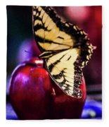 Butterfly On Apple Fleece Blanket