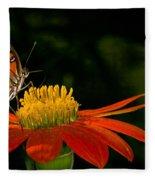 Butterfly On Blossom Fleece Blanket