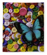 Butterfly On Buttons Fleece Blanket