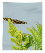 Butterfly On Flower Cluster Fleece Blanket