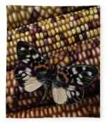 Butterfly On Indian Corn Fleece Blanket