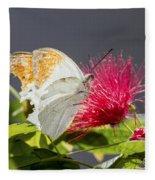 Butterfly On Magenta Flower Fleece Blanket