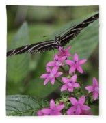 Butterfly On Pink Flowers Fleece Blanket